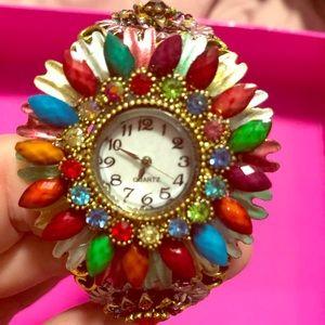 Multicolored gem embellished brass cuff watch